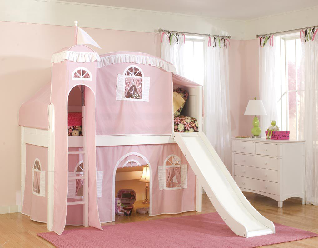 Cool Loft Beds for Girls photos 11 with-Optional-Tent-Tower-and-Slide