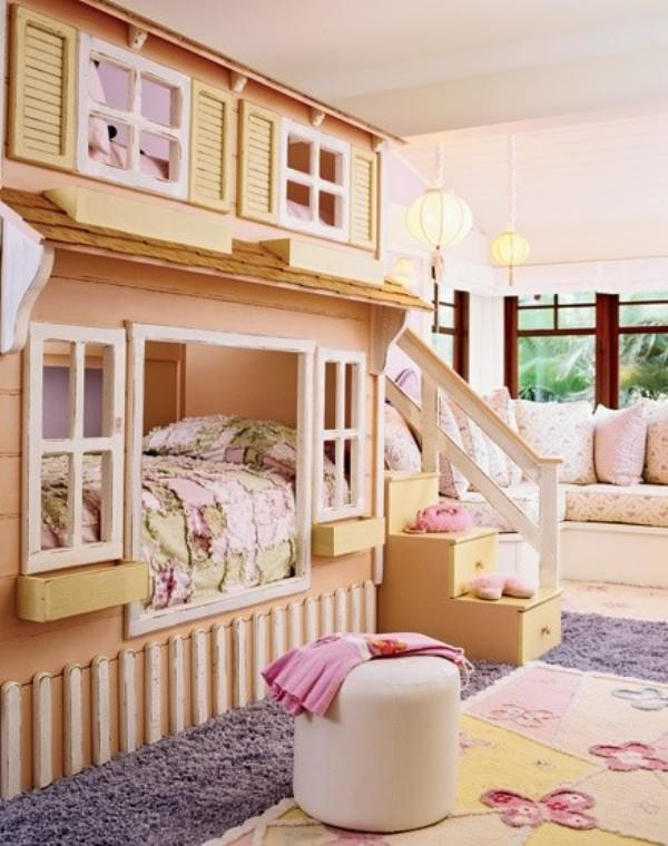 Cool Loft Beds for Girls photos 9 Wonderful-Girl-Bunk-Beds-Large-Grey-Fur-Rug-Beautiful-Chandelier