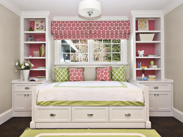 Pink and Spring Green small bedroom design images 6