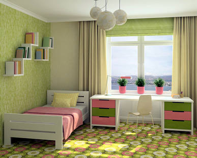 Pink and Spring Green small bedroom design images 7
