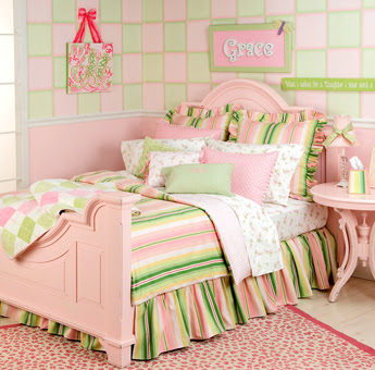 Pink and Spring Green small bedroom design pictures 1