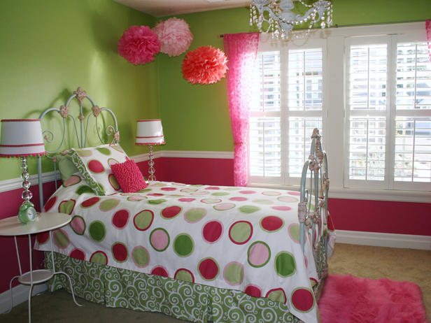 Pink and Spring Green small bedroom design pictures 4