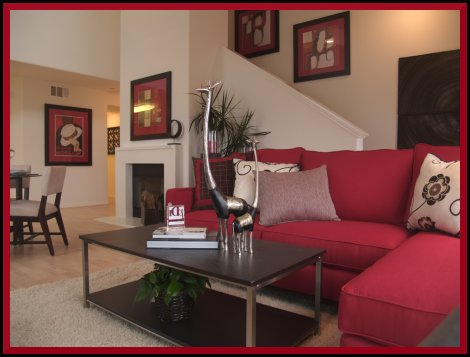 Small Living Room Decorating Red Colors Ideas