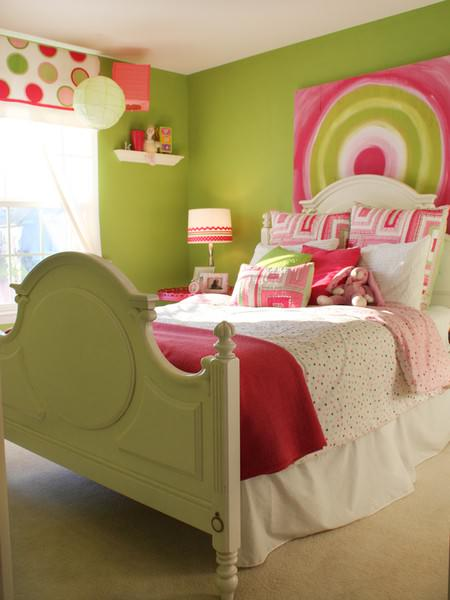 pink-green-teen-girls-bedroom-ideas Pink and Spring Green design pictures 3
