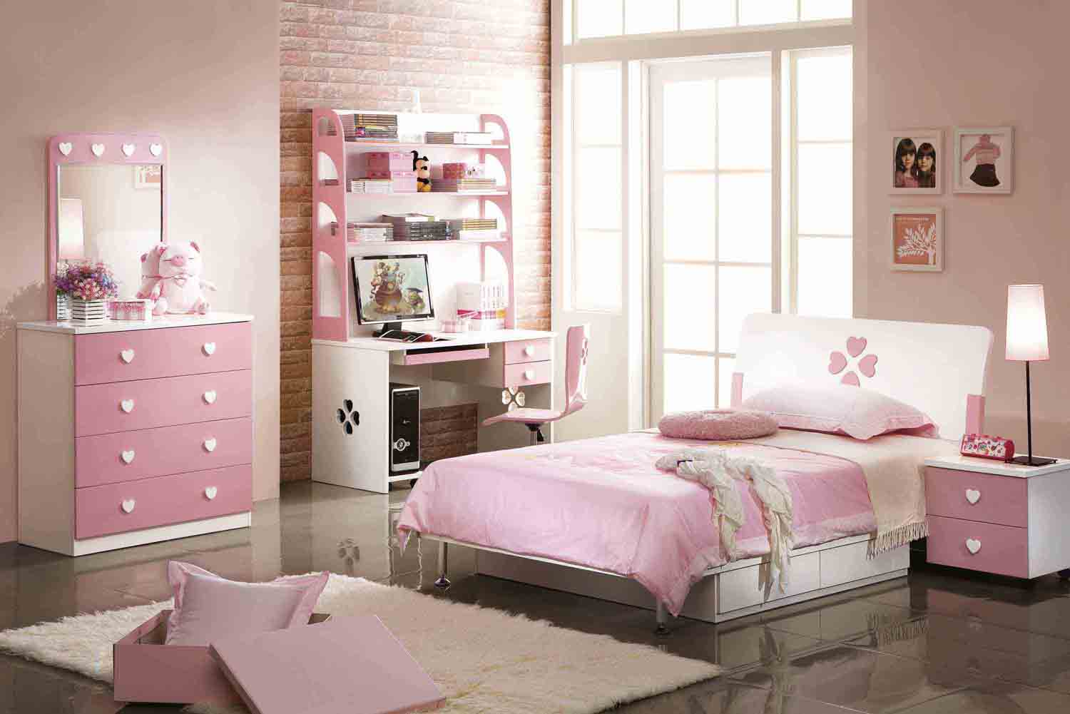 pink-modern-bedroom Grayed Pale Pink color scheme small bedroom decor pictures 1