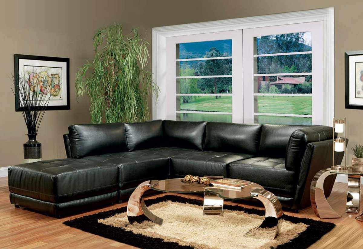 Dark Living Room Furniture With Black And White Leather Sofa Decoration Style