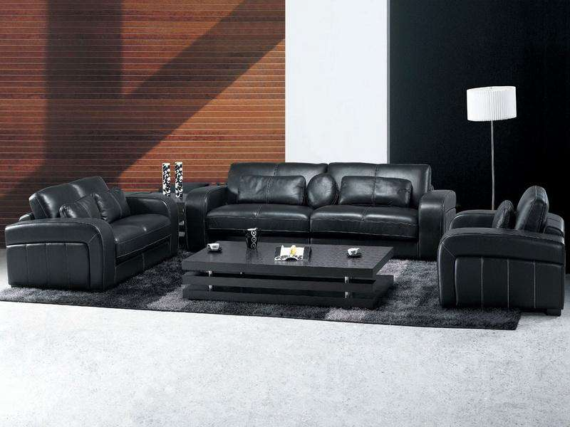 Black Leather Furniture Living room Decorating Ideas image 13