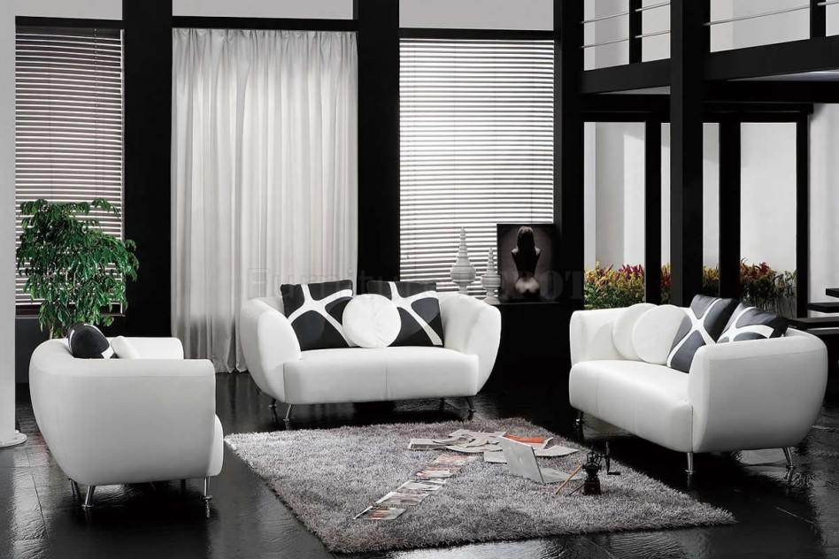 Dark Living Room Furniture with Black and White Leather Sofa Decoration style Pictures 18