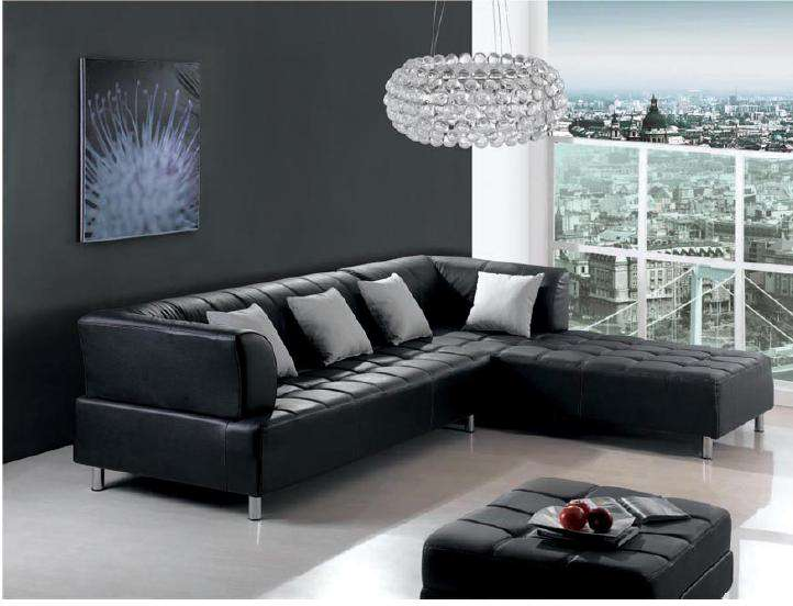 Furnishing a dark living room decorating with crystal Living room decorating ideas with black leather furniture