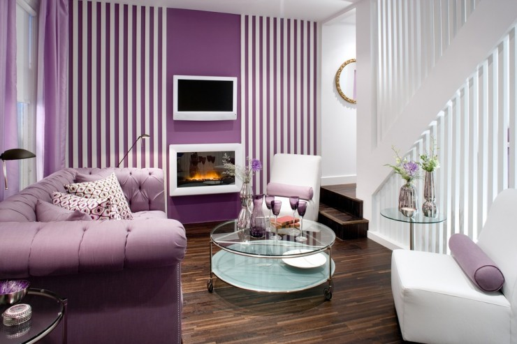 Great beautifull purple colour Small Living Room Designs pictures 018