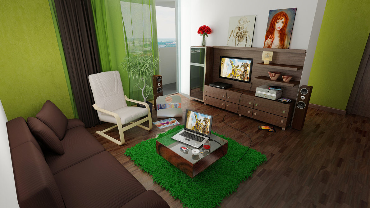 Green and Brown Furnishing A Dark Living Room Pictures 2