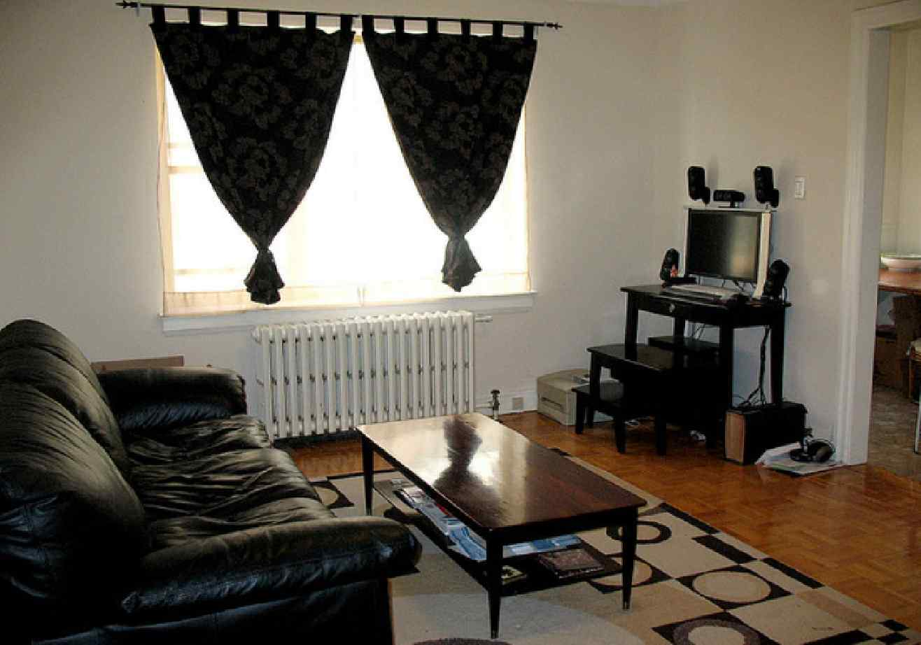 Awesome Small Living Room Ideas With Black Leather: dark curtains small room