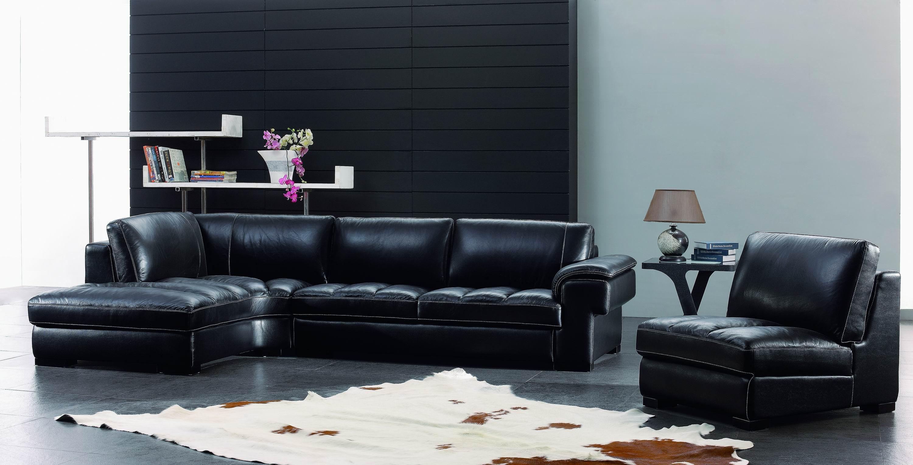 Black Leather Living Room Furniture Sets