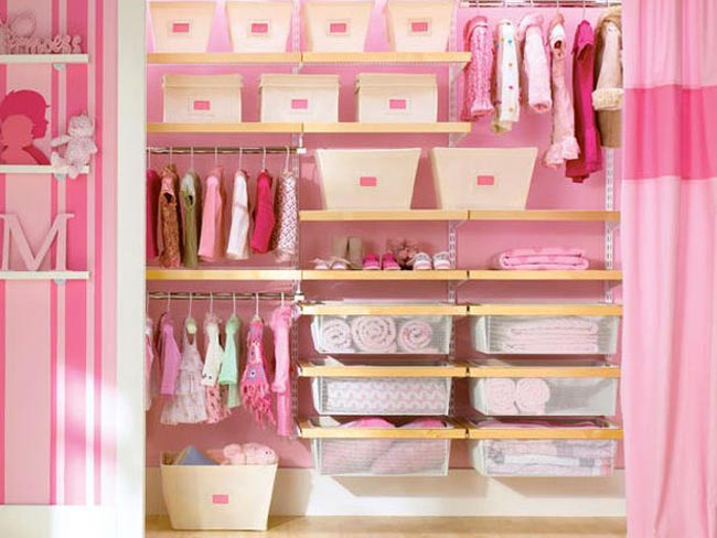 Pink Small Closet Organization Ideas For Kids Girls