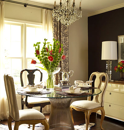 small dining room with Glass top dining table image 7