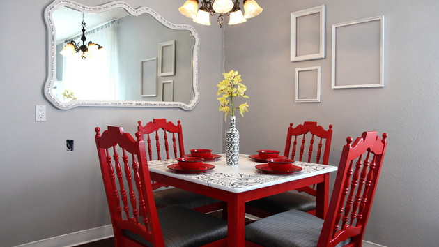 small dining room with red chair decor pictures 015