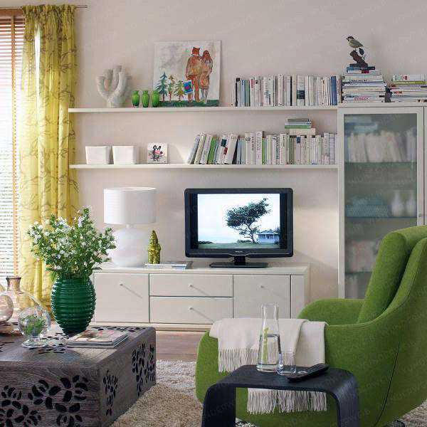 Small living room arrangements with tv with lime green for Tv room ideas for small spaces