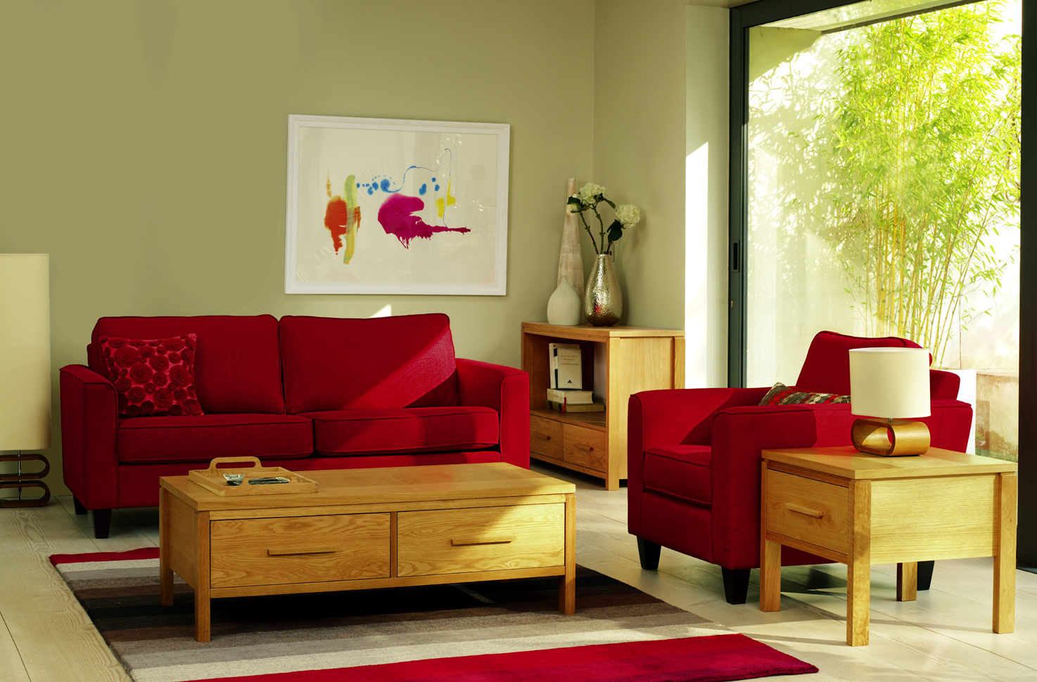 small living room how to arrange furniture red color image 08