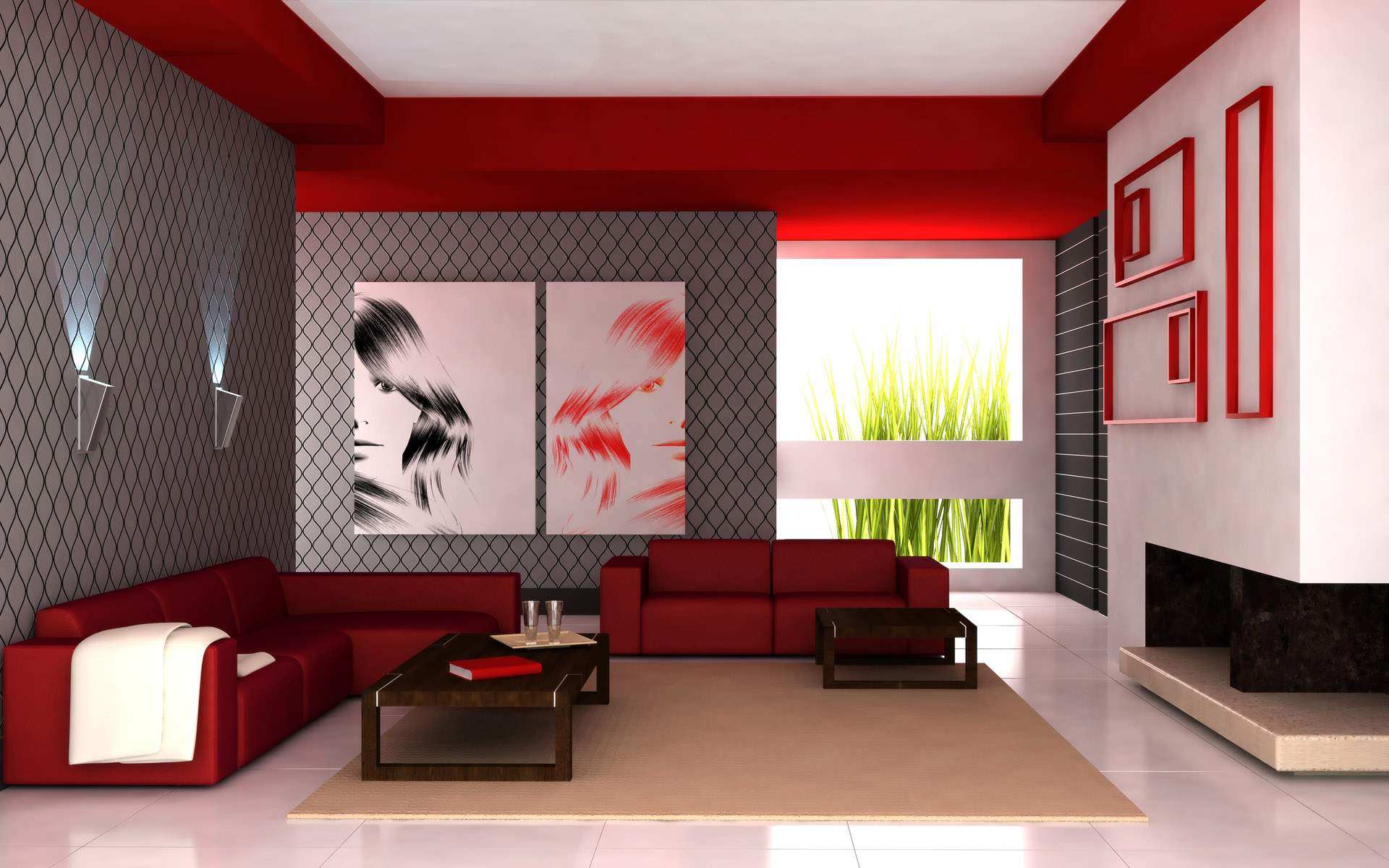 small living room red colors photos 015