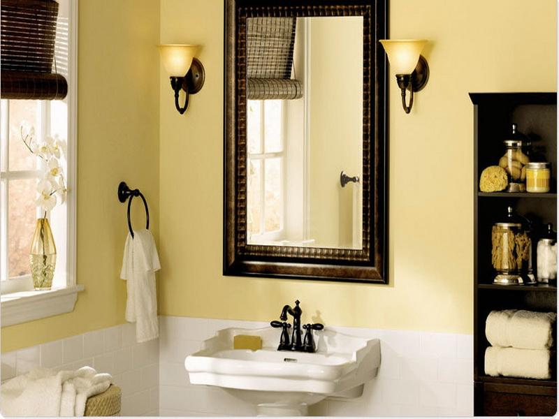 Best wall color for small bathroom yellow 05 for Bathroom color schemes for small bathrooms