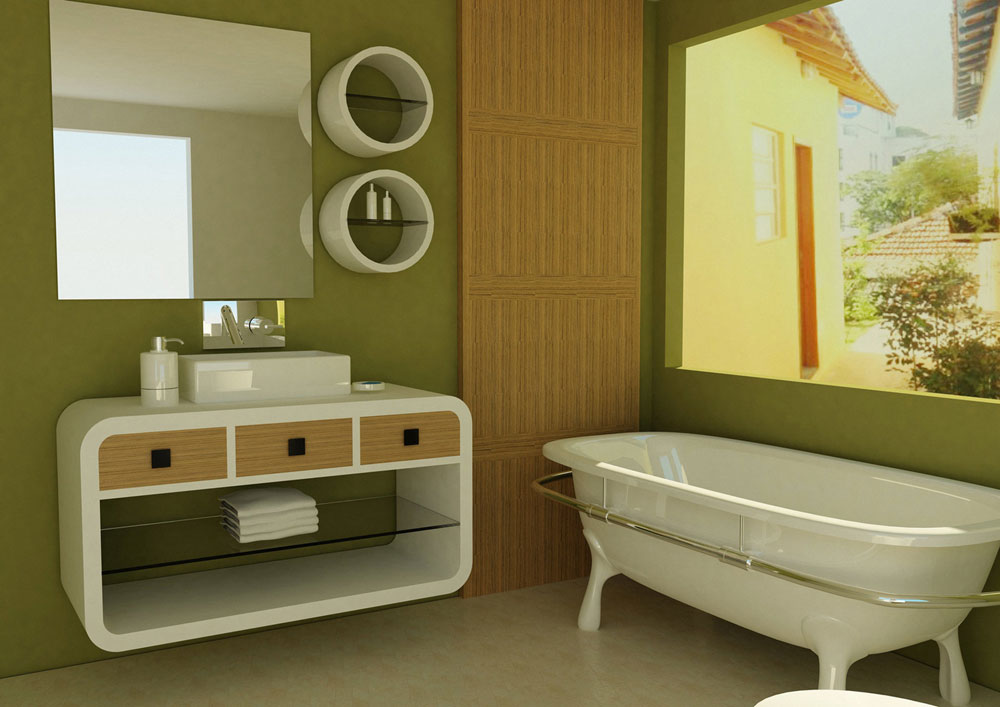 Small bathroom color schemes green 10 small room for Bathroom designs colour schemes