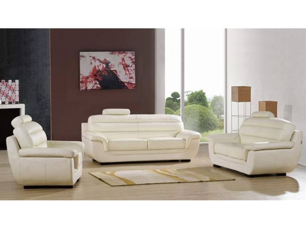 Modern White Leather Sofa with Small Carpet Good for small living 08