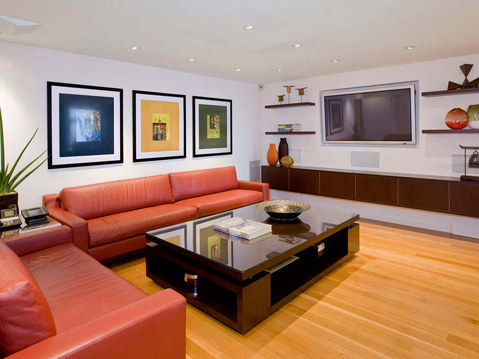 Contemporary Small Living Room With Red Leather Sofa