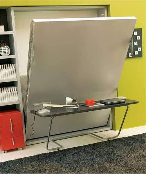 cool design desk with folding bed for small space 06