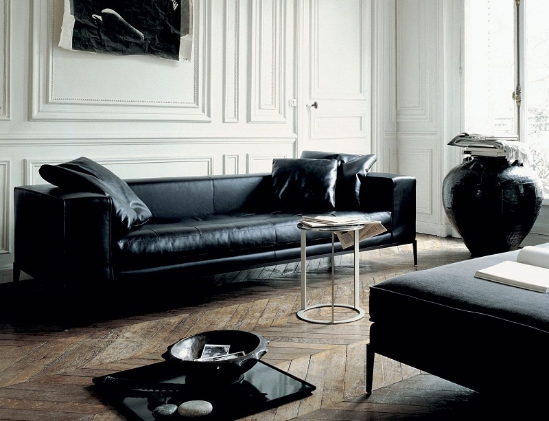 modern black leather sectional for small room 06