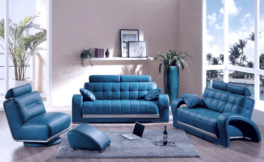 modern blue leather sectional sofa furniture for small living room 04