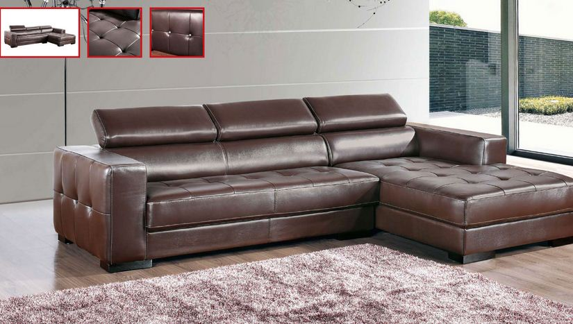 modern brown leather sectional small home 09