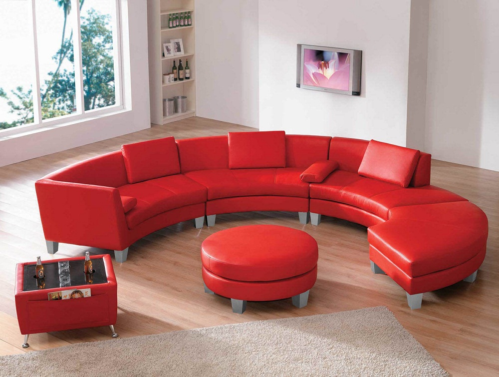 modern red leather sectional for small space 02