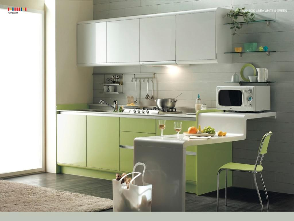 Paint wall color ideas for small kitchen green grey white for Kitchen interior design for small spaces