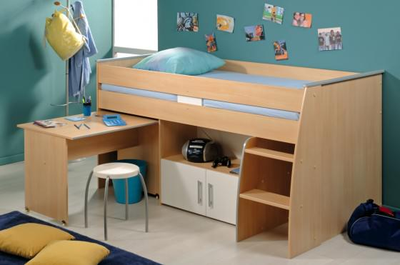 turquoise wall paint color with wooden desk interior for small teens bedroom 08