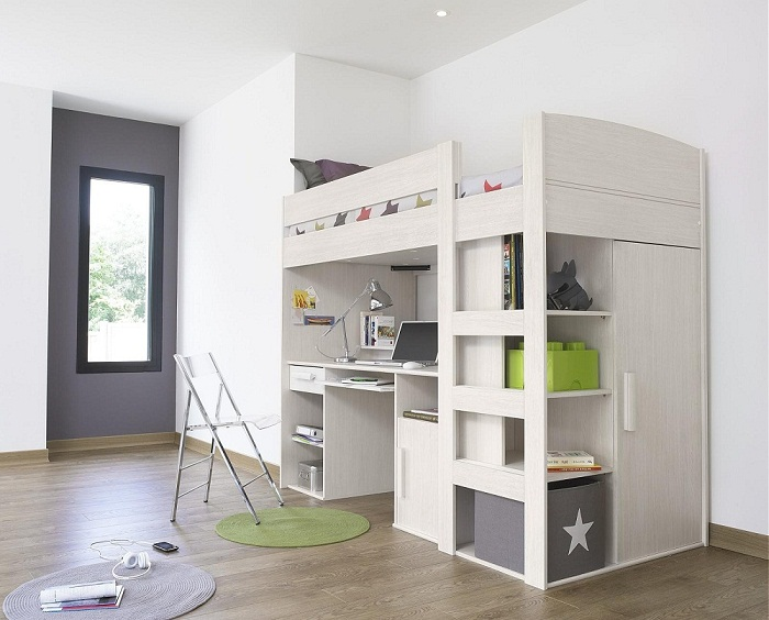 Modern white Loft Bed for small room with desk pic 05