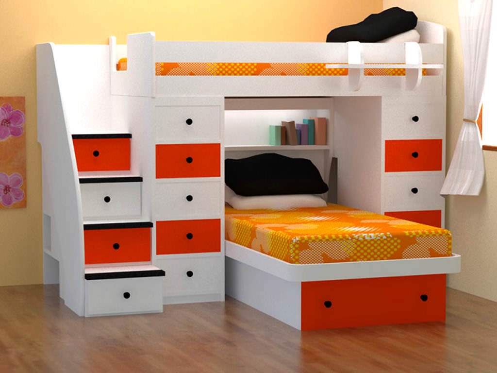 Loft bed optimizing the space of small rooms small for Bedroom furniture design for small spaces