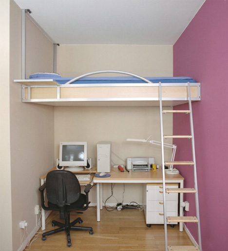 image of Loft bed with desk for small room 03
