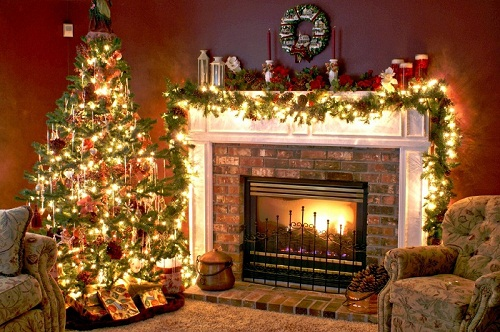 small christmas decorations living room with fireplace photos 05