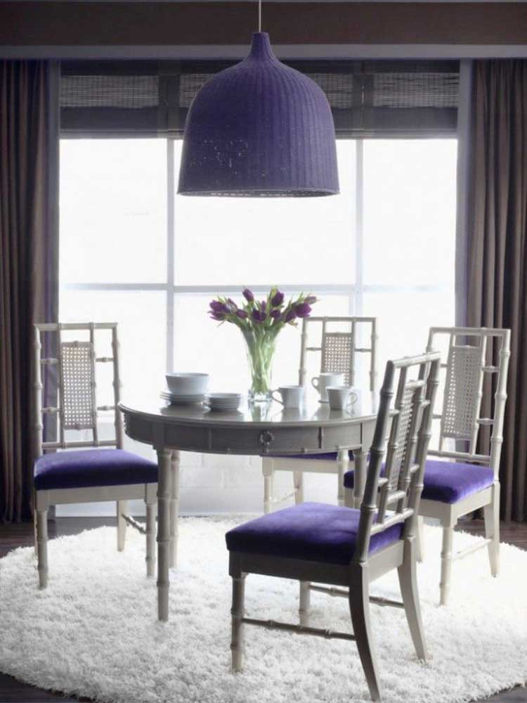 trendy dining room for small home purple combine with white color picture 09