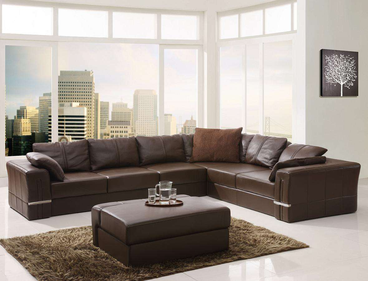 Brown contemporary modern furniture leather images 05