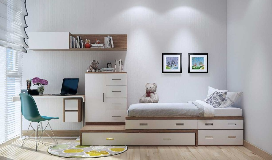 Cabin bed for small rooms with desk for teenagers images for Beds for small rooms