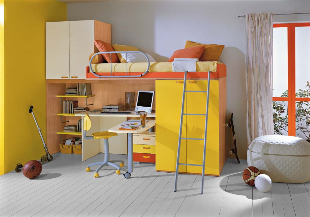 Modern  yellow kids bunk bed set small bedroom furniture 08
