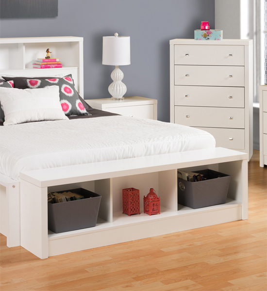 Nice white storage benches for the bedroom images 08
