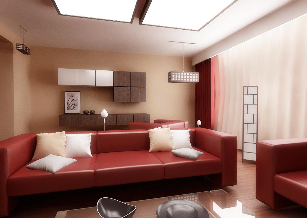 Red small house living room interior design ideas