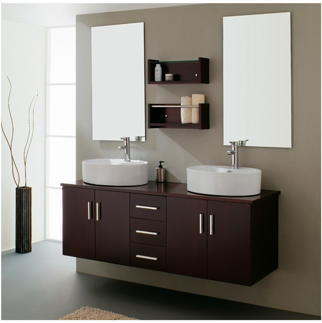 Small bathroom vanity with sink ideas small room for Double vanity for small bathroom