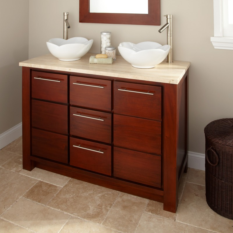 Small Bathroom Vanities With Vessel Sinks : mahogany small bathroom vanity vessel sink image 010