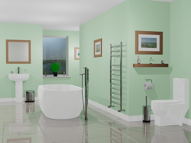 Bathroom paint color ideas blue colour scheme 04 small for Green bathroom paint colors