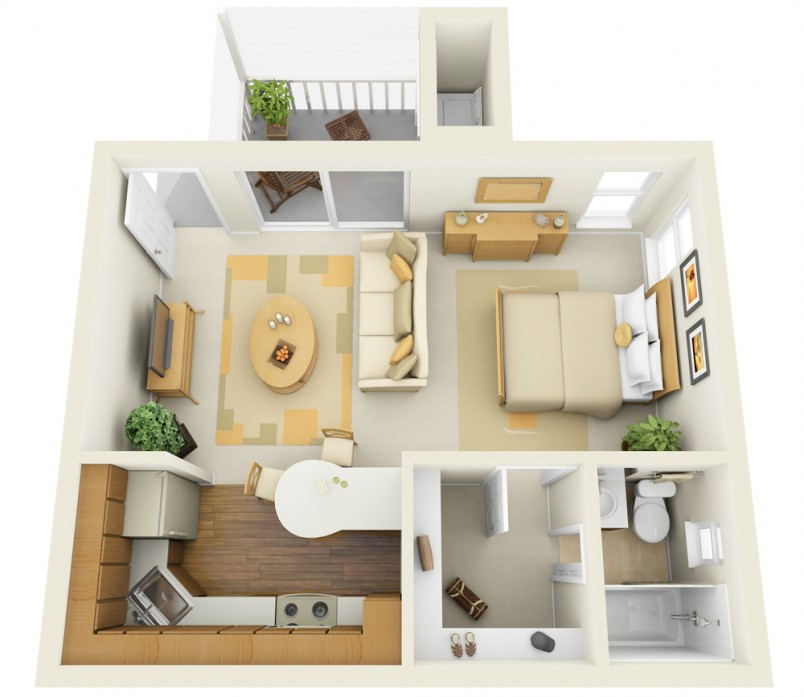 Small Studio Apartment Furniture Arrangement Pictures 03