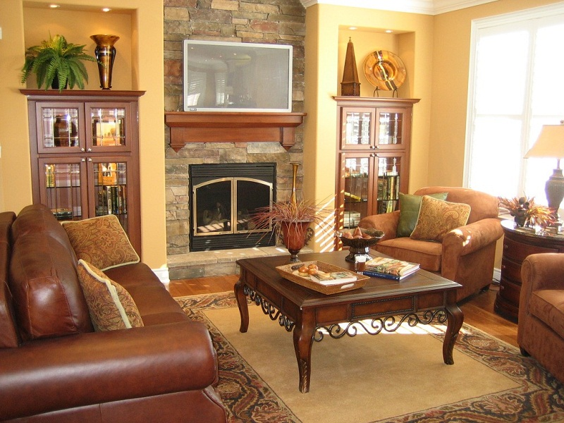 Cool living room furniture arrangement fireplace tv images 05