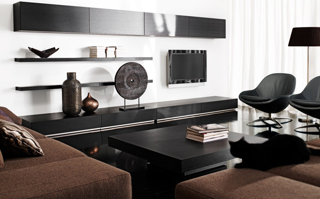 Cool modern living room black and white images 07